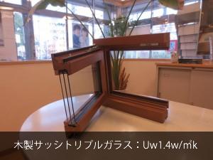 木製サッシトリプルガラス:Uw1.4w/㎡k